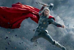 Thor's body language, together with the position of a large hammer, convey an aggressive posture, that might be an enemy's final conscious thought.