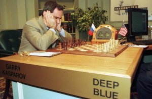 IBM supercomputer Deep Blue defeated world chess champion Garry Kasparov in 1977, a first in the emerging field of computing. How embarrassing.