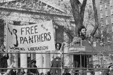 In 1970 Jerry Rubin, speaking at New Haven Green on campus, rallied support for the Black Panther Party. (Getty Images)