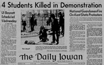 John Filo's Pulitzer Prize-winning photograph of Mary Ann Vecchio, a 14-year-old runaway kneeling over the body of Jeffrey Miller minutes after he was shot by the Ohio National Guard, ran on the front page of the Daily Iowan. The shooting occurred on May 4, 1970, at Kent State University. The weapons used were M1 Garand rifles, a .45-caliber pistol, and a 12-gauge shotgun. Four people were killed, nine were wounded.